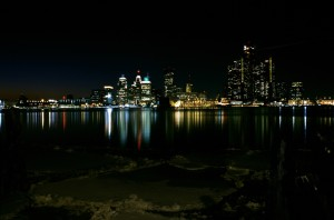 Detroit City Skyline at Night
